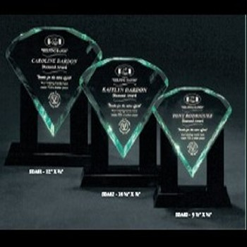 Three Polished Facetted Acrylic Awards